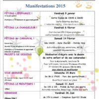 Planning des festivités de l'année 2015: